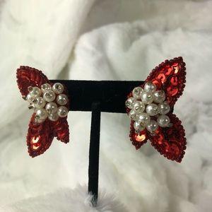Avon sequined sparkle pierced earrings poinsettias